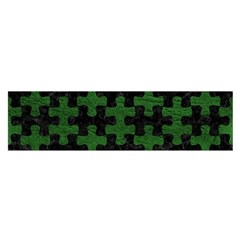 Puzzle1 Black Marble & Green Leather Satin Scarf (oblong)