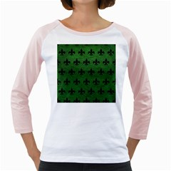 Royal1 Black Marble & Green Leather Girly Raglans