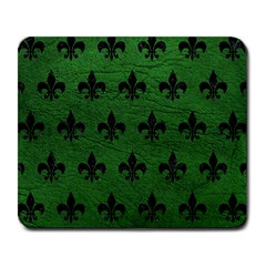 Royal1 Black Marble & Green Leather Large Mousepads