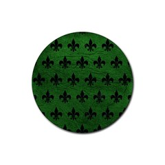 Royal1 Black Marble & Green Leather Rubber Coaster (round)