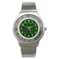 Royal1 Black Marble & Green Leather Stainless Steel Watch