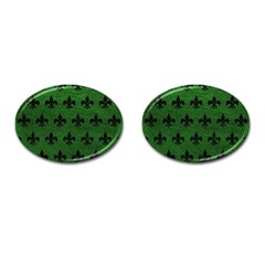 Royal1 Black Marble & Green Leather Cufflinks (oval)