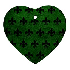 Royal1 Black Marble & Green Leather Heart Ornament (two Sides)