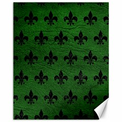 Royal1 Black Marble & Green Leather Canvas 11  X 14
