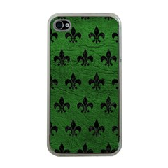 Royal1 Black Marble & Green Leather Apple Iphone 4 Case (clear)