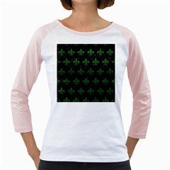 Royal1 Black Marble & Green Leather (r) Girly Raglans