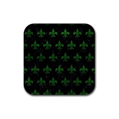 Royal1 Black Marble & Green Leather (r) Rubber Coaster (square)