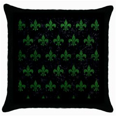 Royal1 Black Marble & Green Leather (r) Throw Pillow Case (black)