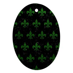 Royal1 Black Marble & Green Leather (r) Oval Ornament (two Sides)