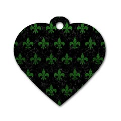 Royal1 Black Marble & Green Leather (r) Dog Tag Heart (one Side)