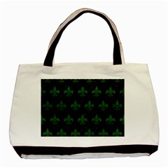 Royal1 Black Marble & Green Leather (r) Basic Tote Bag (two Sides)