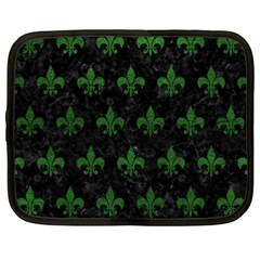 Royal1 Black Marble & Green Leather (r) Netbook Case (xxl)