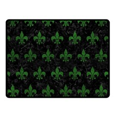 Royal1 Black Marble & Green Leather (r) Double Sided Fleece Blanket (small)