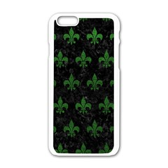 Royal1 Black Marble & Green Leather (r) Apple Iphone 6/6s White Enamel Case