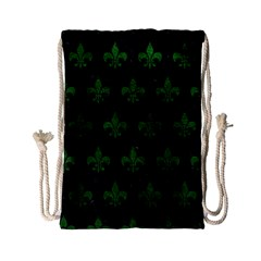 Royal1 Black Marble & Green Leather (r) Drawstring Bag (small)