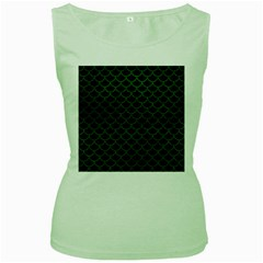 Scales1 Black Marble & Green Leather Women s Green Tank Top