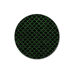Scales1 Black Marble & Green Leather Magnet 3  (round)