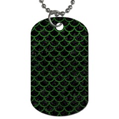 Scales1 Black Marble & Green Leather Dog Tag (two Sides)