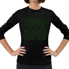 Scales1 Black Marble & Green Leather Women s Long Sleeve Dark T Shirts
