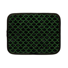 Scales1 Black Marble & Green Leather Netbook Case (small)