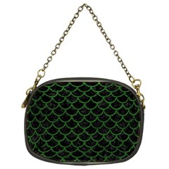 Scales1 Black Marble & Green Leather Chain Purses (two Sides)