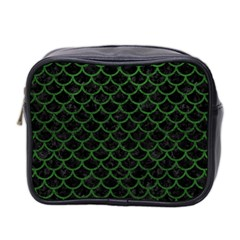 Scales1 Black Marble & Green Leather Mini Toiletries Bag 2 Side
