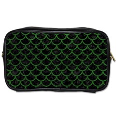 Scales1 Black Marble & Green Leather Toiletries Bags 2 Side