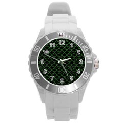 Scales1 Black Marble & Green Leather Round Plastic Sport Watch (l)