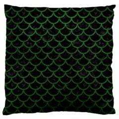 Scales1 Black Marble & Green Leather Large Cushion Case (one Side)