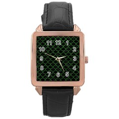 Scales1 Black Marble & Green Leather Rose Gold Leather Watch