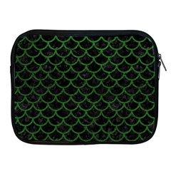Scales1 Black Marble & Green Leather Apple Ipad 2/3/4 Zipper Cases