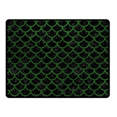 Scales1 Black Marble & Green Leather Double Sided Fleece Blanket (small)