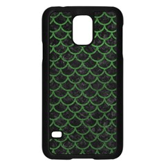 Scales1 Black Marble & Green Leather Samsung Galaxy S5 Case (black)