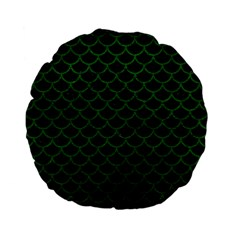 Scales1 Black Marble & Green Leather Standard 15  Premium Flano Round Cushions