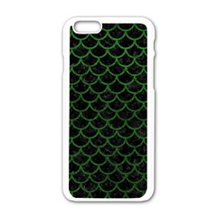 Scales1 Black Marble & Green Leather Apple Iphone 6/6s White Enamel Case