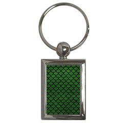 Scales1 Black Marble & Green Leather (r) Key Chains (rectangle)