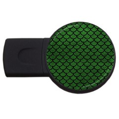 Scales1 Black Marble & Green Leather (r) Usb Flash Drive Round (2 Gb)