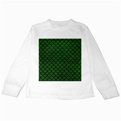 Scales1 Black Marble & Green Leather (r) Kids Long Sleeve T Shirts