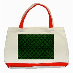 Scales1 Black Marble & Green Leather (r) Classic Tote Bag (red)