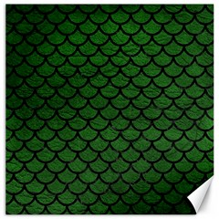 Scales1 Black Marble & Green Leather (r) Canvas 20  X 20