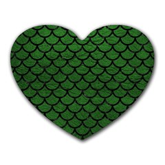 Scales1 Black Marble & Green Leather (r) Heart Mousepads