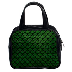 Scales1 Black Marble & Green Leather (r) Classic Handbags (2 Sides)