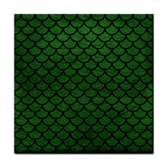 Scales1 Black Marble & Green Leather (r) Face Towel