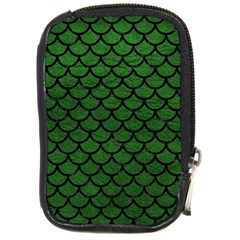 Scales1 Black Marble & Green Leather (r) Compact Camera Cases