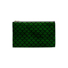 Scales1 Black Marble & Green Leather (r) Cosmetic Bag (small)