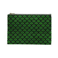 Scales1 Black Marble & Green Leather (r) Cosmetic Bag (large)