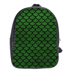 Scales1 Black Marble & Green Leather (r) School Bag (large)