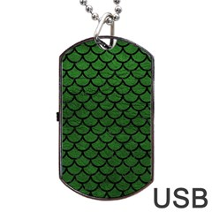 Scales1 Black Marble & Green Leather (r) Dog Tag Usb Flash (two Sides)