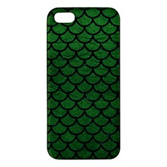 Scales1 Black Marble & Green Leather (r) Apple Iphone 5 Premium Hardshell Case