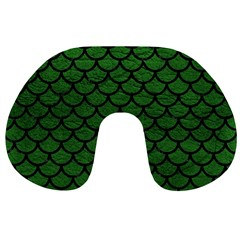 Scales1 Black Marble & Green Leather (r) Travel Neck Pillows